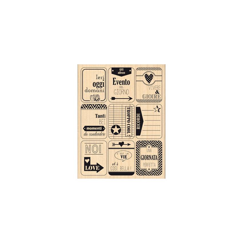 Tampon bois italien NOVE ETICHETTE par Florilèges Design. Scrapbooking et loisirs créatifs. Livraison rapide et cadeau dans c...