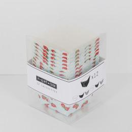 Caissettes carrées imprimées fraises