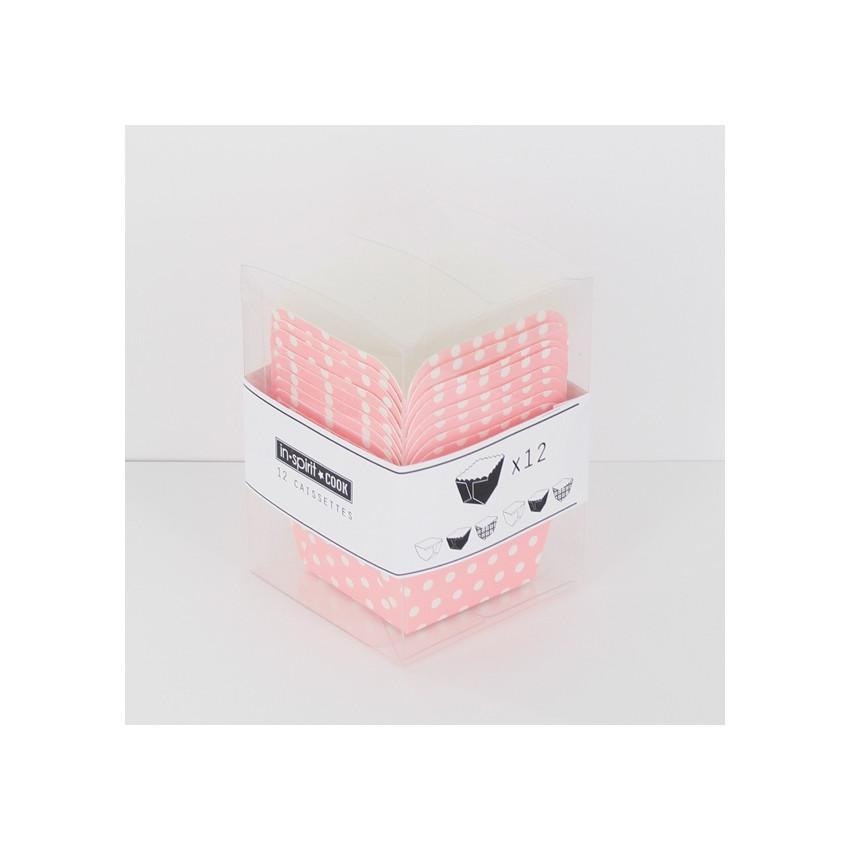 PROMO de -50% sur Caissettes carrées roses à pois blancs Cook and Gift