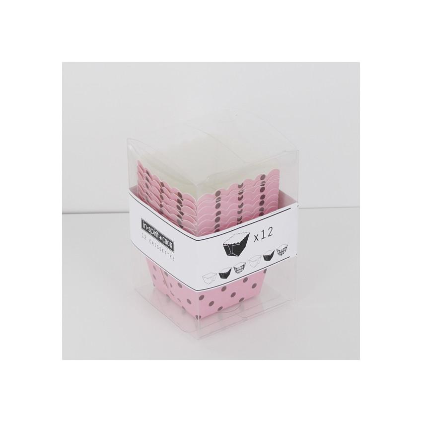 Caissettes carrées roses à pois bruns