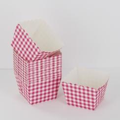 PROMO de -50% sur Caissettes carrées vichy rose/blanc Cook and Gift