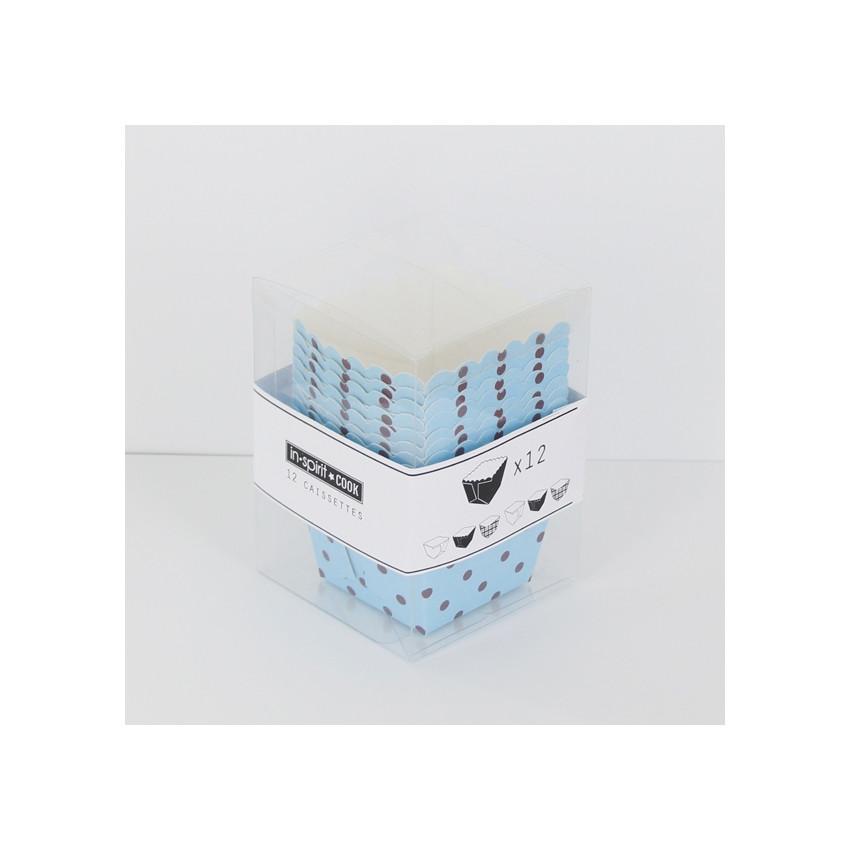 Caissettes carrées bleues à pois bruns
