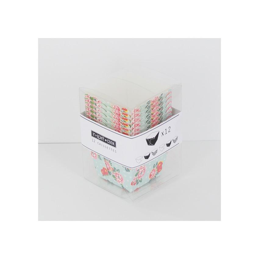 Caissettes carrées imprimées fleurs