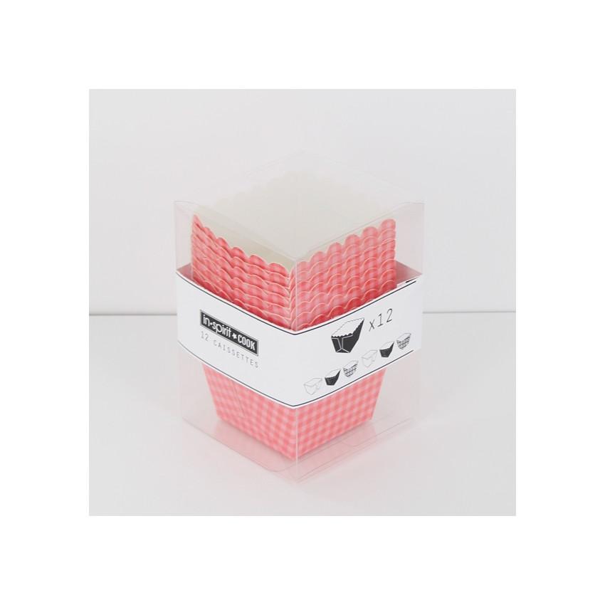 Caissettes carrées vichy rose/rouge