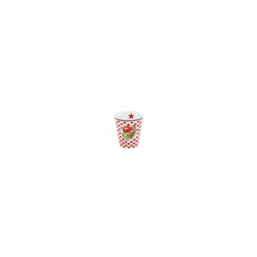 Mug rouge fleurs et carreaux