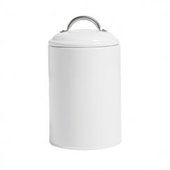 Boite ronde métal blanche avec couvercle