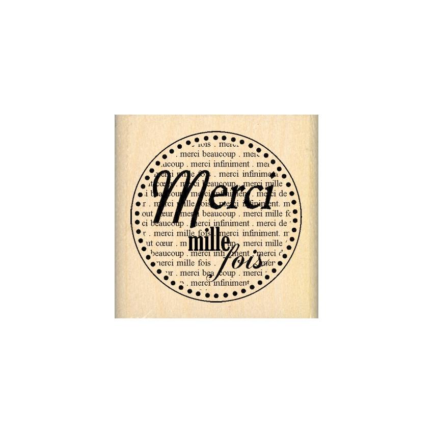 Tampon bois MERCI MILLE FOIS par Florilèges Design. Scrapbooking et loisirs créatifs. Livraison rapide et cadeau dans chaque ...