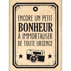 Tampon bois BONHEUR DE TOUTE URGENCE par Florilèges Design. Scrapbooking et loisirs créatifs. Livraison rapide et cadeau dans...