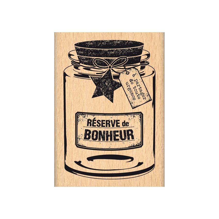 Tampon bois RÉSERVE DE BONHEUR par Florilèges Design. Scrapbooking et loisirs créatifs. Livraison rapide et cadeau dans chaqu...