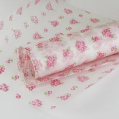 Papier ciré fleurs roses et vertes