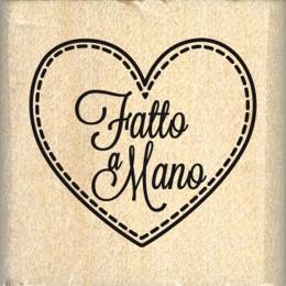 Tampon bois italien CUORE FATTO A MANO par Florilèges Design. Scrapbooking et loisirs créatifs. Livraison rapide et cadeau da...