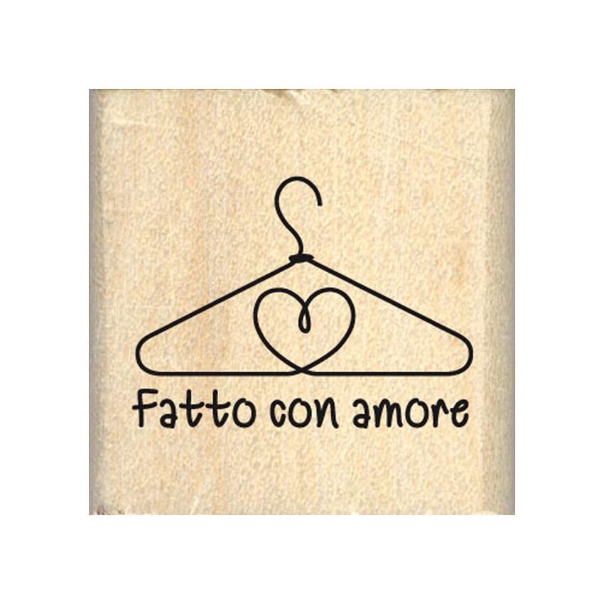 Tampon bois italien FATTO CON AMORE par Florilèges Design. Scrapbooking et loisirs créatifs. Livraison rapide et cadeau dans ...