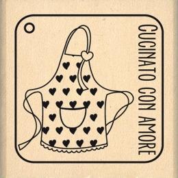 Tampon bois italien CUCINATO CON AMORE par Florilèges Design. Scrapbooking et loisirs créatifs. Livraison rapide et cadeau da...