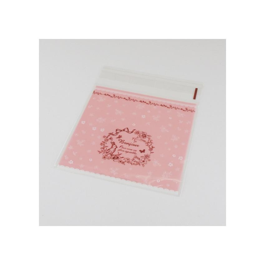Sachets cristal Bonjour rose