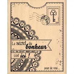 Tampon bois LE SECRET DU BONHEUR par Florilèges Design. Scrapbooking et loisirs créatifs. Livraison rapide et cadeau dans cha...