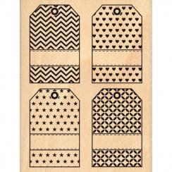 Tampon bois QUATRE TAGS par Florilèges Design. Scrapbooking et loisirs créatifs. Livraison rapide et cadeau dans chaque comma...