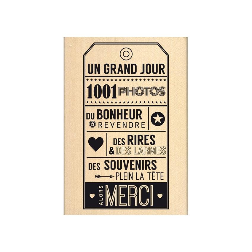 Tampon bois ALORS MERCI par Florilèges Design. Scrapbooking et loisirs créatifs. Livraison rapide et cadeau dans chaque comma...