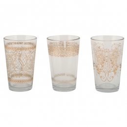 Lot de 3 verrines motifs or