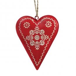 Coeur métal peint rouge
