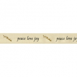 Ruban de coton peace love joy