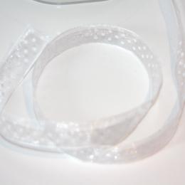 Ruban transparent BLANC à pois blancs