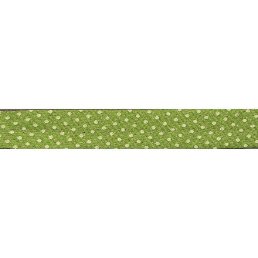 Biais Frou-Frou Collection Jardin d'oliviers à pois vert clair