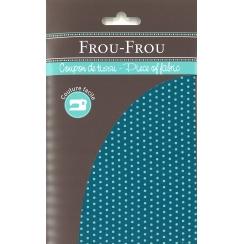 Coupon Tissu Frou-Frou Collection Bora bora lagoon à pois turquoise clair