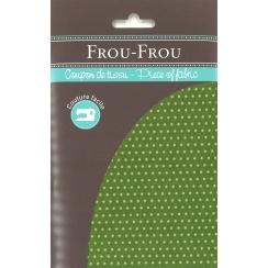 Coupon Tissu Frou-Frou Collection Jardin d'oliviers à pois vert clair