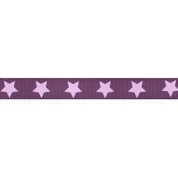 Ruban Frou-Frou gros grain Prune délicate à étoiles violet clair