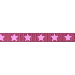 Ruban Frou-Frou gros grain Camélia à étoiles rose clair