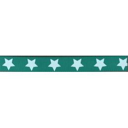 Ruban Frou-Frou gros grain Bora bora lagoon à étoiles turquoise clair