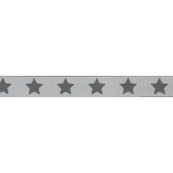 Ruban Frou-Frou gros grain Taupe à étoiles gris foncé
