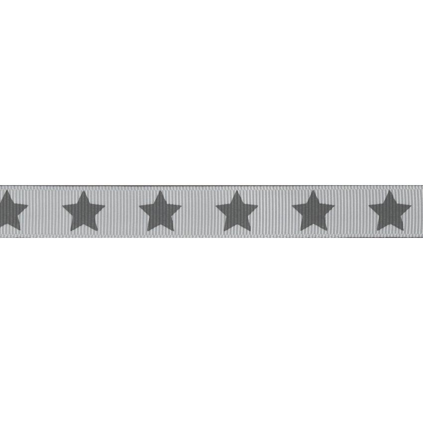 Ruban Frou-Frou gros grain Taupe à étoiles gris foncé par Paritys. Scrapbooking et loisirs créatifs. Livraison rapide et cade...