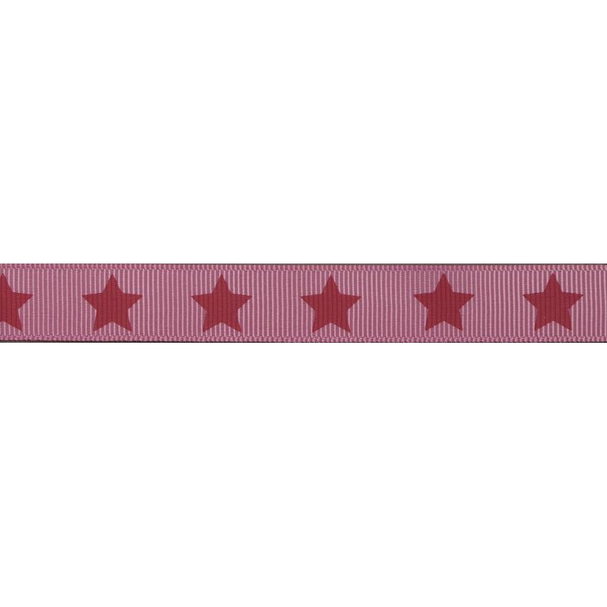 Ruban Frou-Frou gros grain Rubis éclatant à étoiles rouge foncé