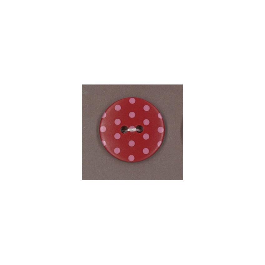 Bouton Frou-Frou Rubis éclatant à pois rouge clair