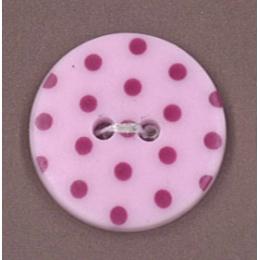 Bouton Frou-Frou Camélia à pois rose foncé sur fond clair