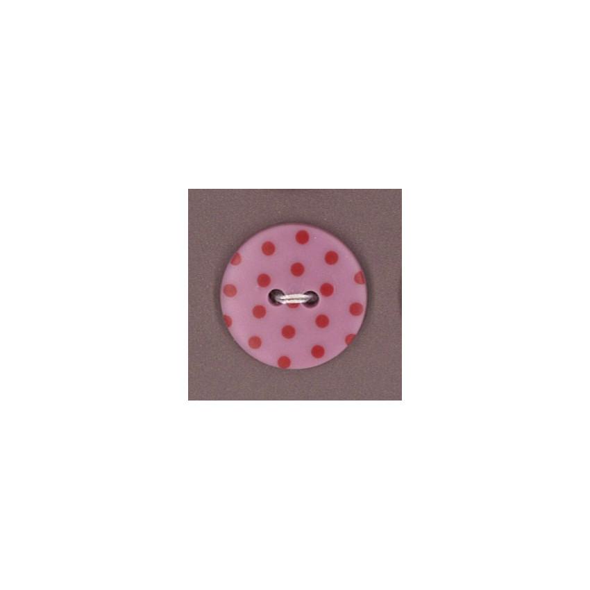 Bouton Frou-Frou Rubis éclatant à pois rouge foncé sur fond clair