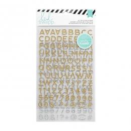 Alphabet autocollant or et argent pailleté