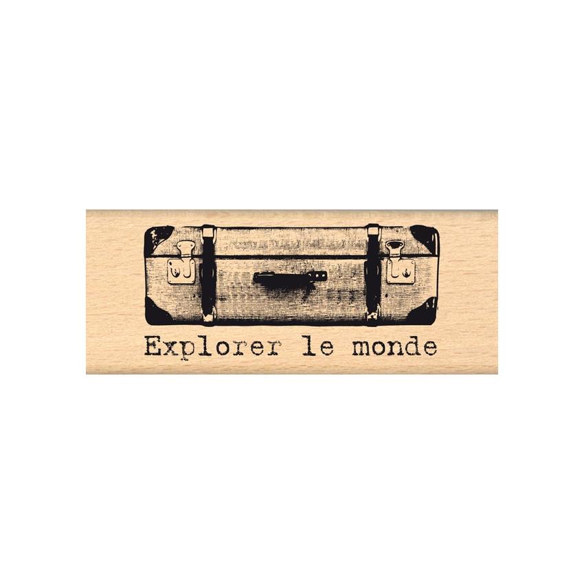 Tampon bois LA VALISE par Florilèges Design. Scrapbooking et loisirs créatifs. Livraison rapide et cadeau dans chaque commande.