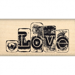 Tampon bois LOVE MÉTALLISÉ