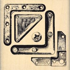 Tampon bois COINS MÉTAL par Florilèges Design. Scrapbooking et loisirs créatifs. Livraison rapide et cadeau dans chaque comma...