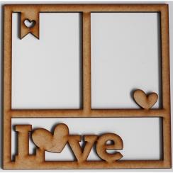 Cadre 15 x 15 cm LOVE par In Spirit. Scrapbooking et loisirs créatifs. Livraison rapide et cadeau dans chaque commande.
