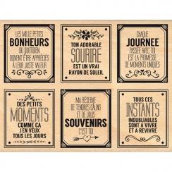Tampon bois BONHEURS DU QUOTIDIEN par Florilèges Design. Scrapbooking et loisirs créatifs. Livraison rapide et cadeau dans ch...
