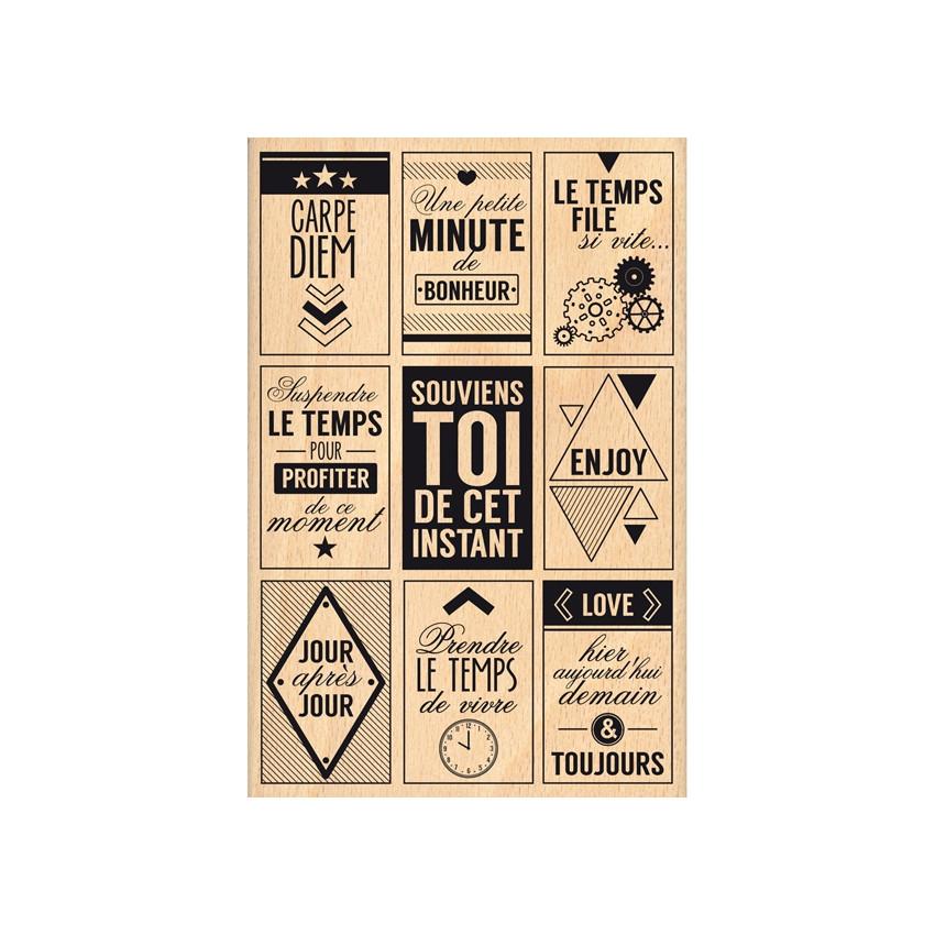 Tampon bois MINUTE DE BONHEUR
