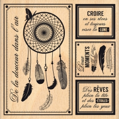 Tampon bois L'ATTRAPE RÊVES par Florilèges Design. Scrapbooking et loisirs créatifs. Livraison rapide et cadeau dans chaque c...