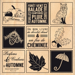 Tampon bois ÉTIQUETTES AUTOMNALES par Florilèges Design. Scrapbooking et loisirs créatifs. Livraison rapide et cadeau dans ch...