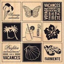 Tampon bois ÉTIQUETTES ESTIVALES par Florilèges Design. Scrapbooking et loisirs créatifs. Livraison rapide et cadeau dans cha...