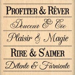 Tampon bois PHRASES DU BONHEUR par Florilèges Design. Scrapbooking et loisirs créatifs. Livraison rapide et cadeau dans chaqu...