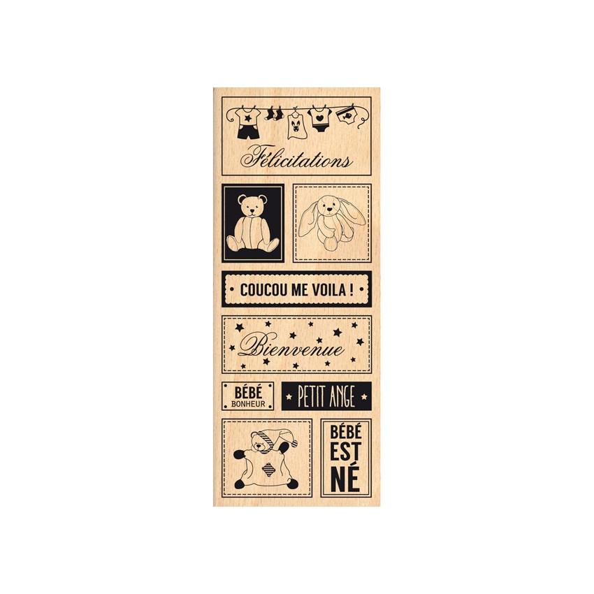 Tampon bois BÉBÉ EST NÉ par Florilèges Design. Scrapbooking et loisirs créatifs. Livraison rapide et cadeau dans chaque comma...