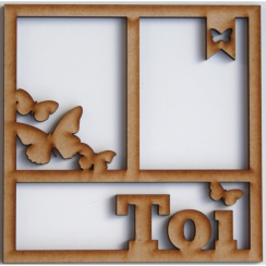 Cadre 15 x 15 cm TOI PAPILLONS par In Spirit. Scrapbooking et loisirs créatifs. Livraison rapide et cadeau dans chaque commande.